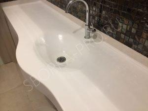Столешница-раковина для ванной из искусственного камня Grandex P 104 Pure White