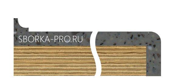 Вид плинтуса - 4. Приставной плинтус. Размер 12*12 мм. Вогнутый.