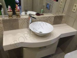 столешница в ванну с настольным умывальником