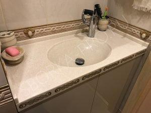 столешница в ванну с литым умывальником