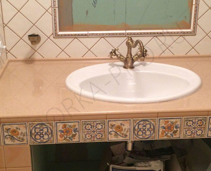 столешница из камня в ванной