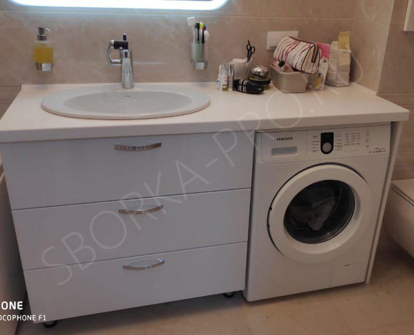 белая тумба с ящиками для ванной