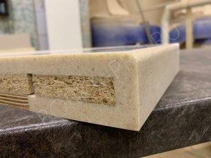 Вид кромки - 14. Обработка краев может быть произвольной. Суть в подклейке второго слоя камня с тыльной стороны.